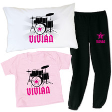 Personalized Rockstar Slumber Party Set Pink