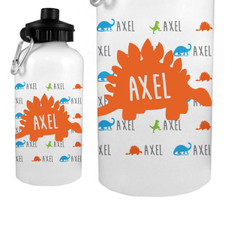 Personalized Name Game Water Bottle: Dino Orange