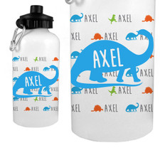 Personalized Name Game Water Bottle: Dino Blue