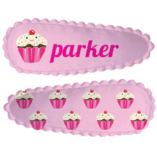 Personalized Name Game Barrette Set: Cupcake