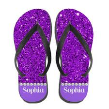 Personalized Blinged Out Babe Flip Flops Purple