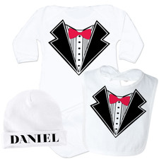 Personalized Lil Man Tuxedo Baby Gown Set