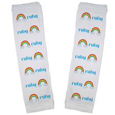 Personalized Name Game Baby Leg Warmers: Rainbow New