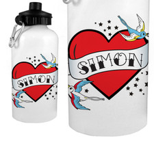 Personalized Flying Sparrow Tattoo Heart Water Bottle Red