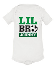Personalized Little Brother Soccer Baby Shirt