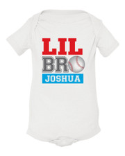 Personalized Little Brother Baseball Baby Shirt