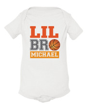 Personalized Little Brother Basketball Baby Shirt