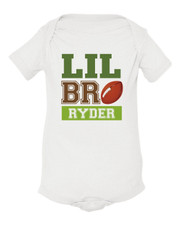 Personalized Little Brother Football Baby Shirt