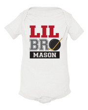 Personalized Little Brother Hockey Baby Shirt