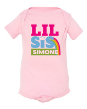Personalized Rainbow Little Sister Baby Shirt