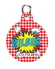 Personalized Pet Tag: Pop Art Red New