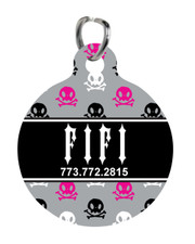 Personalized Pet Tag: Rebel Rocker Pink