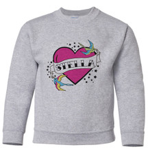 Personalized Tattoo Heart Pullover Sweatshirt Pink New