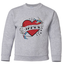Personalized Tattoo Heart Pullover Sweatshirt Red New