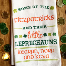 Personalized Little Leprechauns Kitchen Towel