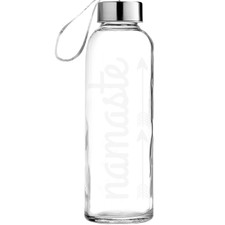 Namaste Etched Glass Water Bottle