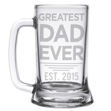 Personalized Greatest Dad Ever Etched Beer Mug