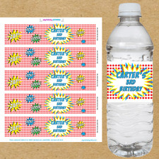 Superhero Birthday Water Bottle Labels - Example of 3 Lines