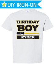 Personalized Birthday Iron On Transfer: Jedi Yellow