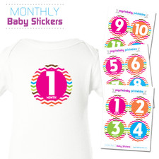Electric Chevron Baby Month Stickers