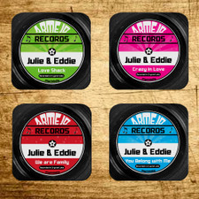 Personalized Cut A Record Coaster Set