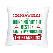 Personalized Family (Dys)Functions Throw Pillow: Christmas