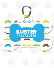 Personalized Pet Tag:  Mini Mustache Blue Bone