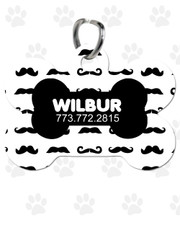 Personalized Pet Tag:  Mini Mustache Black Bone