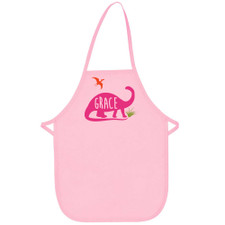 Personalized Jurassic Dino Kid's Apron Pink New
