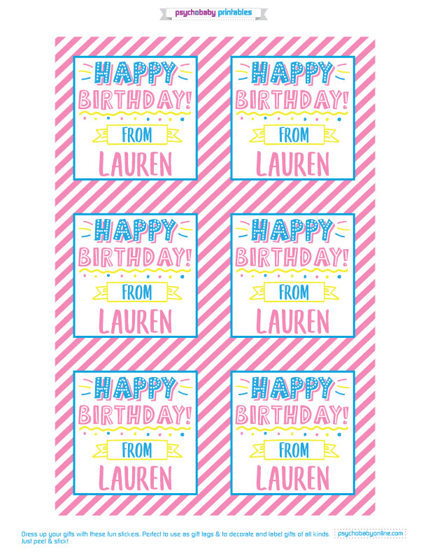 Personalized Kids Gift Labels