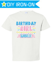 Personalized Birthday Iron On Transfer: Party Time Pink New