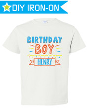 Personalized Boys Birthday Iron-On T-Shirt Transfer