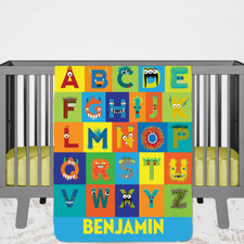Personalized Monster Baby Name Blanket for Baby Boys