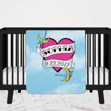 Personalized Tattoo Heart Baby Blanket