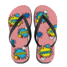 Pop Art Flip Flops Red