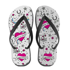 True Love Tattoo Flip Flops Pink