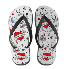 True Love Tattoo Flip Flops Red