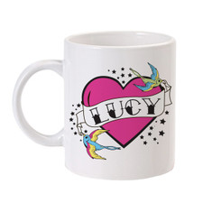 Flying Sparrow Tattoo Heart Mug Pink