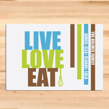 Personalized Live Love Eat Cutting Board Chocolate
