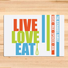 Personalized Live Love Eat Cutting Board Orange