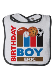 Personalized First Birthday Bib MVP Sports Blue