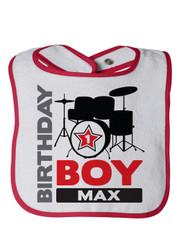 Personalized First Birthday Bib Drum Superstar Red