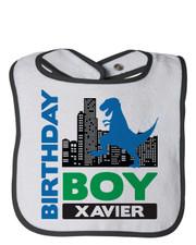 Personalized First Birthday Bib Dino City