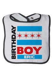 Personalized First Birthday Bib Chicago Boy