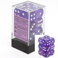 Chessex: Borealis: 16mm D6 Purple/White (12)
