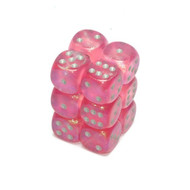 Chessex: Borealis: 16mm D6 Pink/Silver (12)