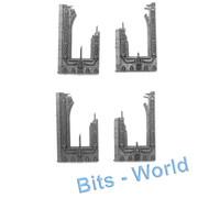 WARHAMMER 40K BITS: TERRAIN BASILICA - 4x BROKEN WALLS
