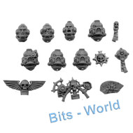 WARHAMMER 40K BITS - SPACE MARINES CENTURION DEV SQUAD - HEADS 6x /ICONS/SEALS