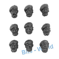 WARHAMMER 40K BITS: MILITARUM TEMPESTUS SCIONS/COMMAND - HEADS with BERETS 9x