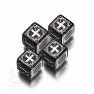 Q-Workshop: Antique Fudge Dice Set Black/White (4)